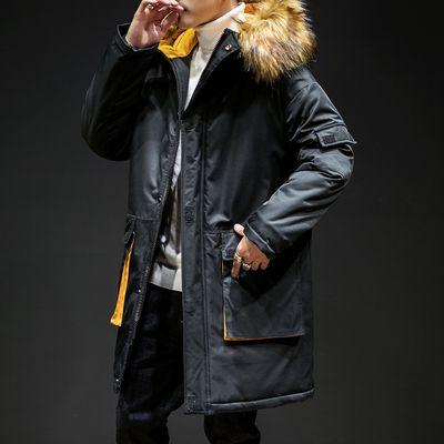 Großhandel Kuangnan Gelb Mit Kapuze Winterjacke Männer Kleidung Windjacke Herren Winter Parkas Mantel 2018 Langen Mantel Herren Pelz Parka 5xl Von