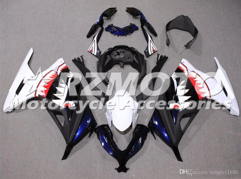 Hochwertige Spritzgießform Neue ABS-Motorrad-Verkleidungen Kit für Kawasaki Ninja 300 2013 2014 2015 2016 2017 EX300 2013-2017 Weiß Schwarz