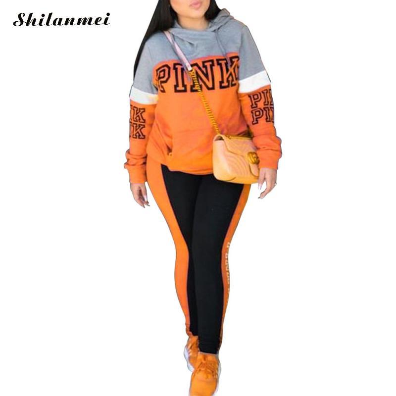 Plus Size Women Sportswear Set Loose Sweatshirt 3XL Two Piece Winter Clothing Female Pink Orange Blue Trainning Exercise Sets