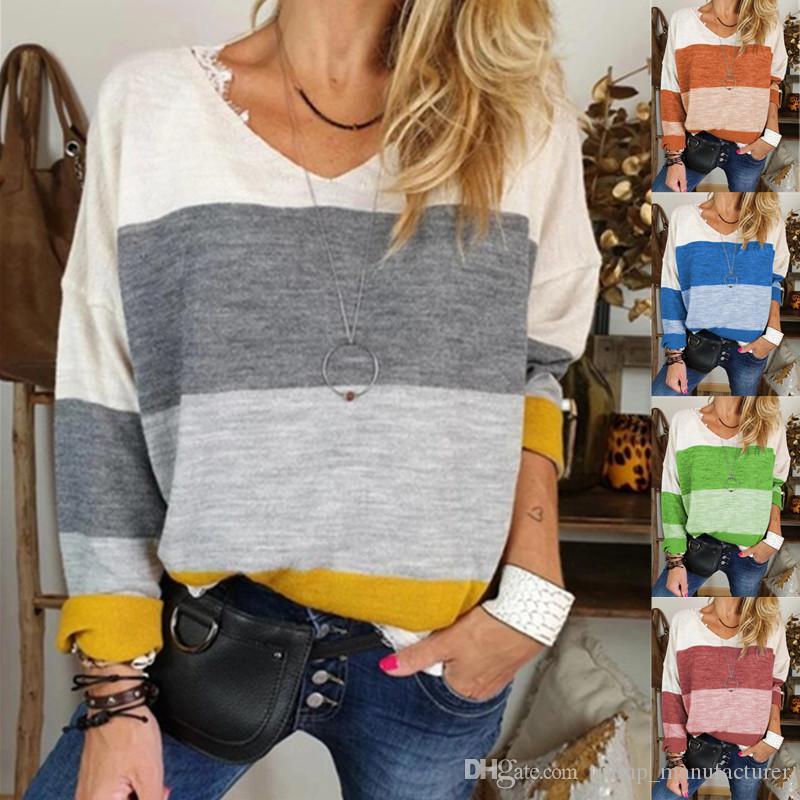 magliette progettista donne maniche lunghe casuale V-Neck T-shirt stampata allentato delle parti superiori felpe lusso stilista donne s Donne T-shirts S-5XL