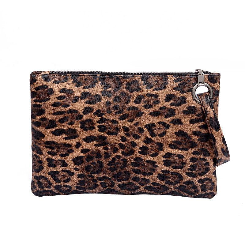 Casual Women Animal Print Clutch Female Leopard PU Leather Wallet Messenger Bag Coin Purse Ladies Elegant Handbag