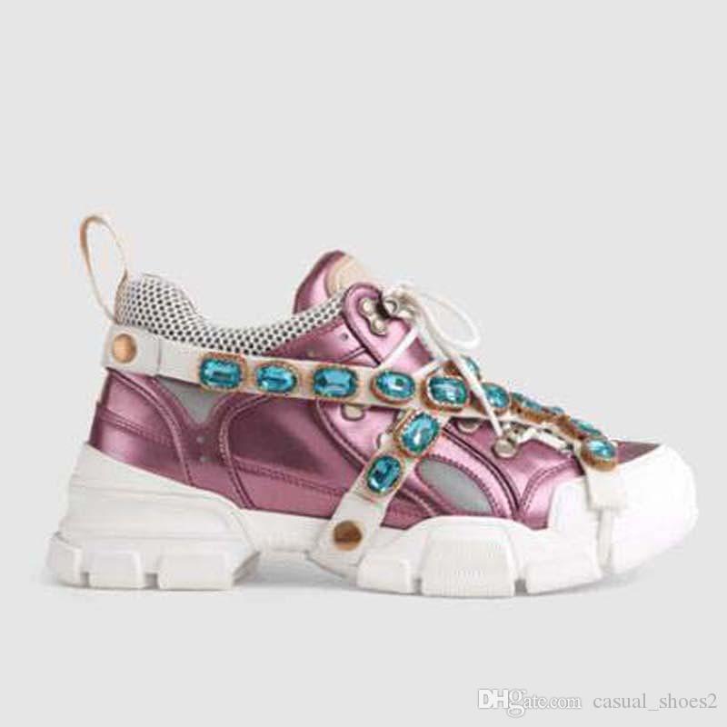 Flashtrek Schuhe mit abnehmbarem Crystals Herren Sneaker Mode für Frauen Schuhe beiläufige Turnschuh-Schuhe Größe 35-45 LL3 läuft