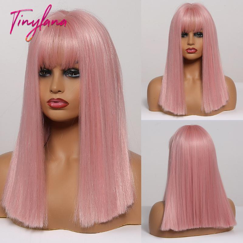 TINY LANA sintetico di lunghezza media parrucche diritte con la frangetta Luce PinkGreen Natural Style di Lolita Cosplay Parrucche per le donne