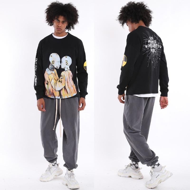 ASAP Rocky ТЕСТИРОВАНИЕ Мужские футболки Письмо Printed Rap Street Style с длинным рукавом Сыпучие тройники Токио Limited Edition Мода Streetwear