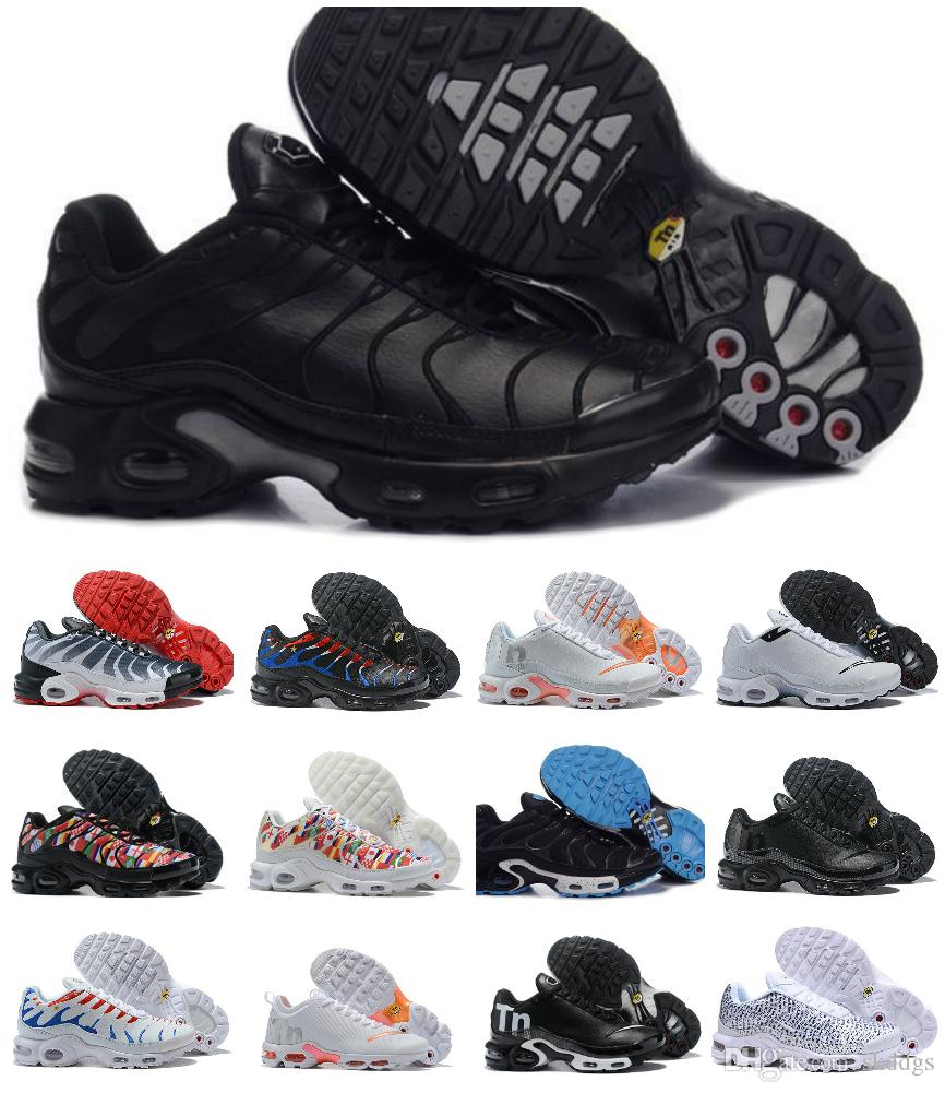 2019 Tn Shoes New Designs Mens Womens Air Plus Sports RunninG Trainers Zapatillaes Black White Chaussures Tn Femme Cheap Men Sneakers