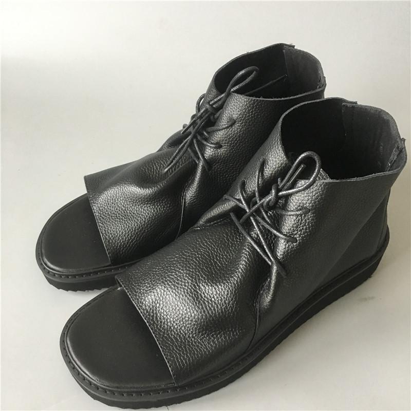 Véritable plate-forme en cuir des sandales à bout ouvert Naruto dentelle personnalisée en hommes frais sandales
