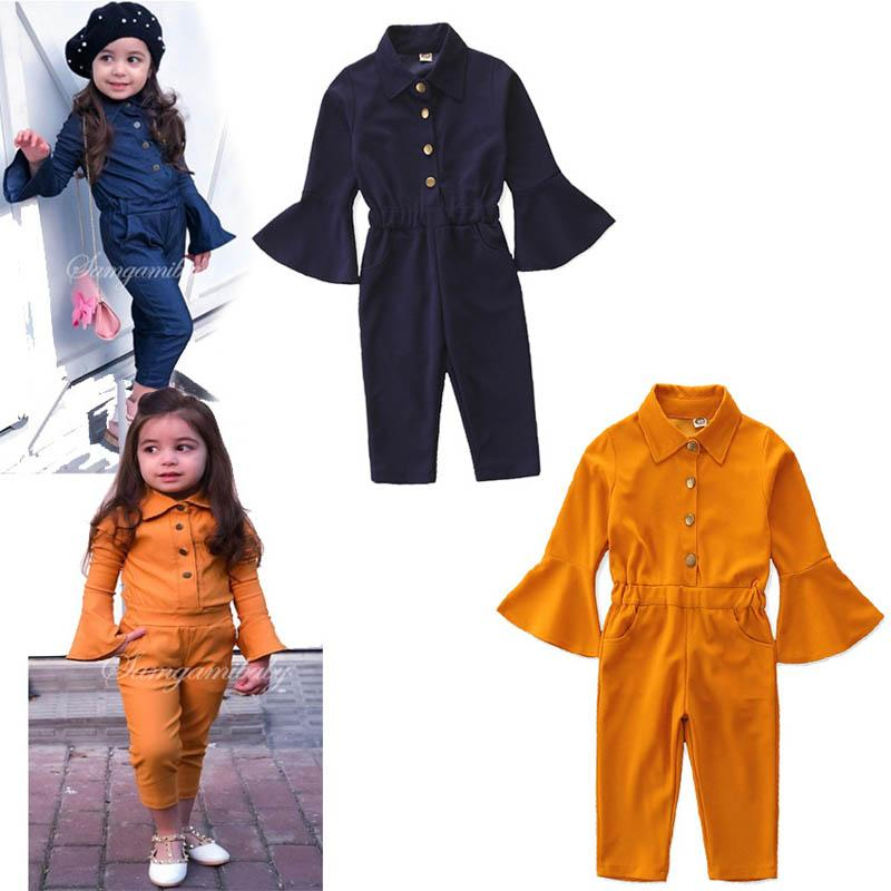 Ins hot sale girls jumpsuit kids designer clothes girls romper fashion long sleeve trousers girls clothes kids clothes A7258