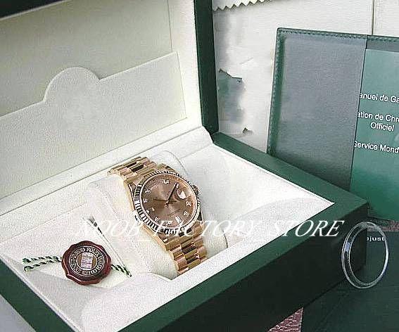 De lujo nueva fábrica 2813 Movimiento automático 36MM ORO AMARILLO CHAMPAGNE PRESI DENT # 118238 con la caja original Reloj de Buceo