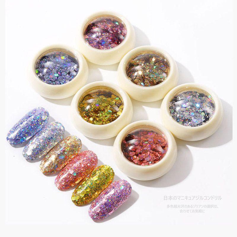 6pcs / set Nail Art Glitter poudre flash laser Paillettes pour le maquillage des yeux 3D manucure gradient de diamant d'or d'argent Flakes ongles