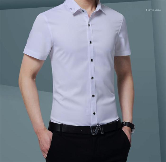 Sleeve Stehkragen beiläufige Mens-Hemden Teenager Frühling Kleidung Fashion Solid Herren Designer-Kleid Shirts Short