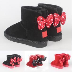 Diseño clásico de zapatos de los niños de 4 colores de moda corbata de lazo botas para la nieve bebé niña de piel botas de tamaño calentadora integrada 21-34