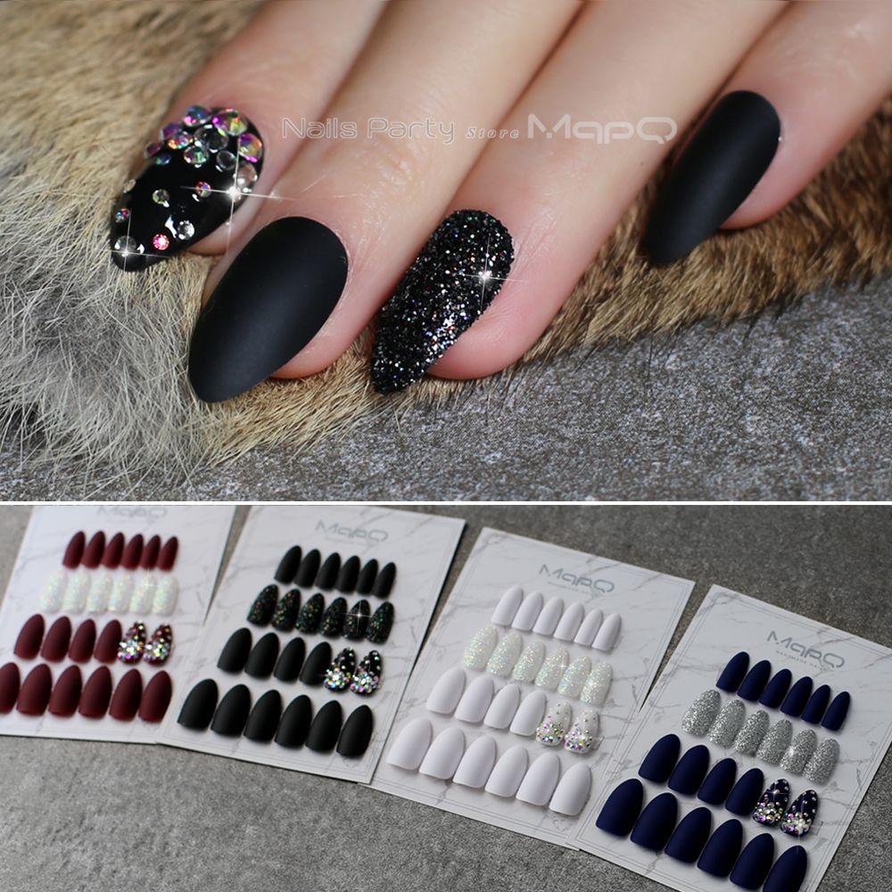 Stiletto Matte Black glitter false nails crystal full sets Salon design blue fake nails red Customizable almond white