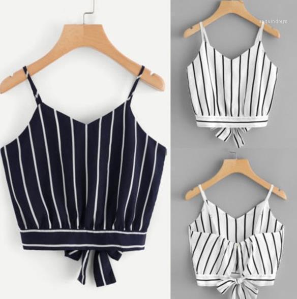 Strap Camicia Tees Womens scollo a V Crop Tops Fashion Floral Strpe stampato Camis Serbatoi spaghetti Casual