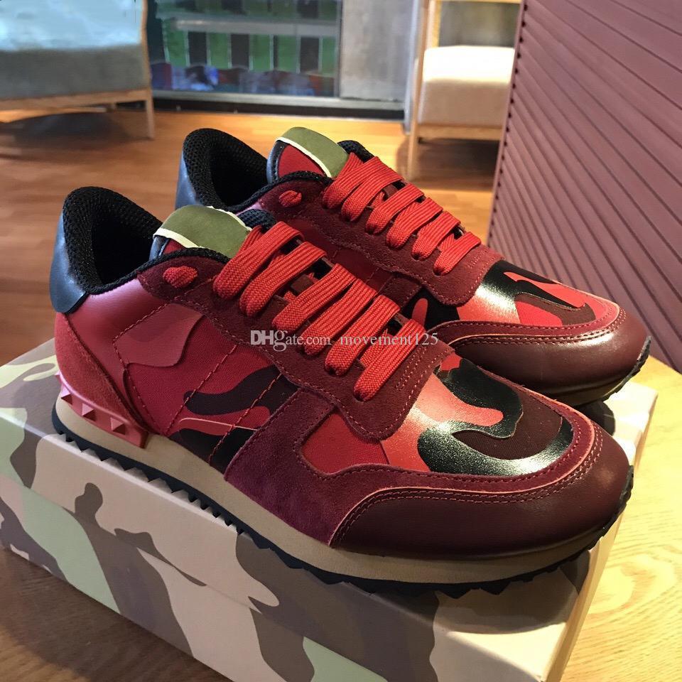 Sıcak ayakkabılar [Orijinal kutusu] Moda Stud Kamuflaj Sneakers Ayakkabı Ayakkabı Erkek Kadın Flats Lüks Tasarımcı Rockrunner Eğitmenler Günlük Ayakkabılar