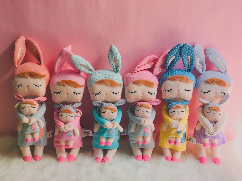 "Metoo Plush Toys Stuffed Dolls Angela Dreaming Girl With Box Plush Rabbit Girl Gift Toys For Kids Christmas 2 Set 12"" Y200111"