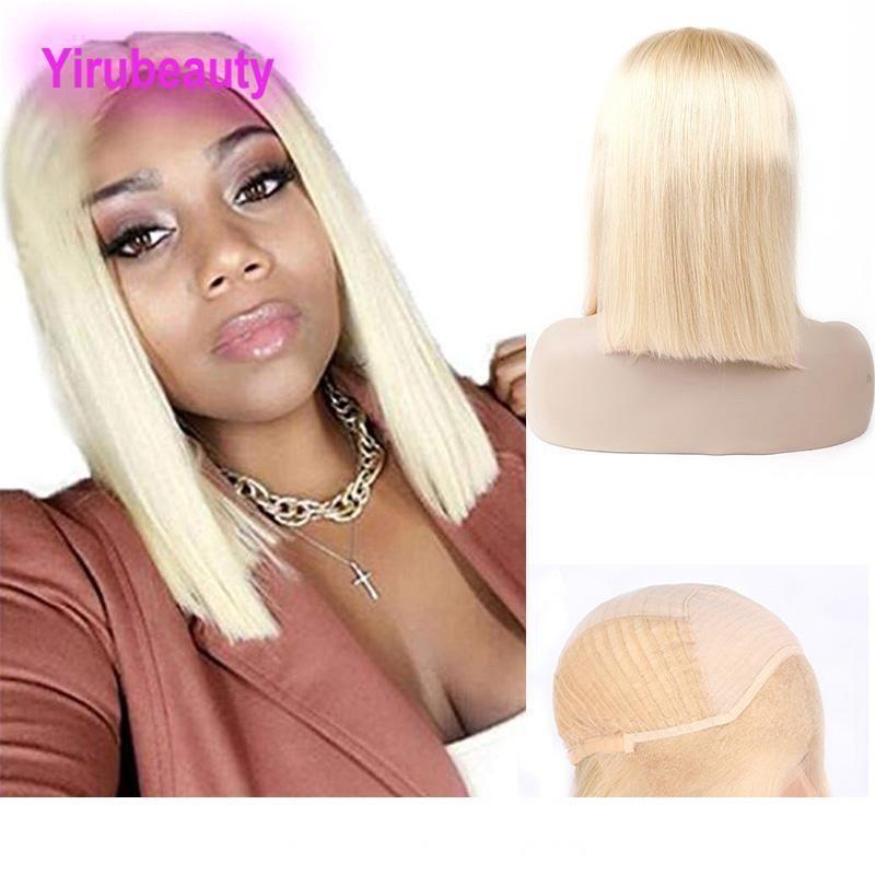 Umani indiani Prodotti per capelli 12-18inch 13x4 Bob Capelli Pizzo anteriore wigss 613 # Biondi capelli di Remy wigss 613 Colore Lace Front Yiirubeauty