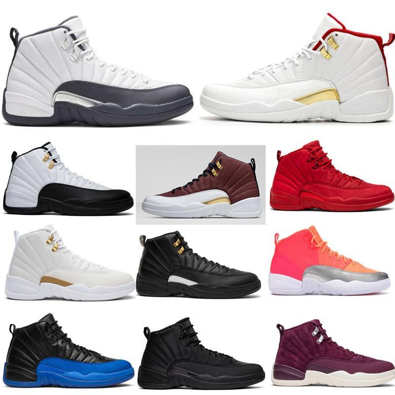 12 12s gris oscuro para hombre juego de baloncesto zapatos de bola de juego real del azul real del ante 12s El Maestro gimnasia del deporte rojo zapatilla de deporte con la caja
