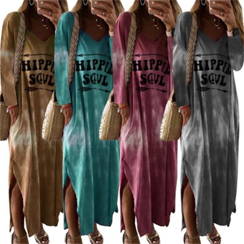 Brief Digitaldruck-Kleid mit V-Kragen Gabelöffnung langer Rock Bunte lose Röcke Lady Travel Kleidung Frühling Winter Bekleidung 35mq H1