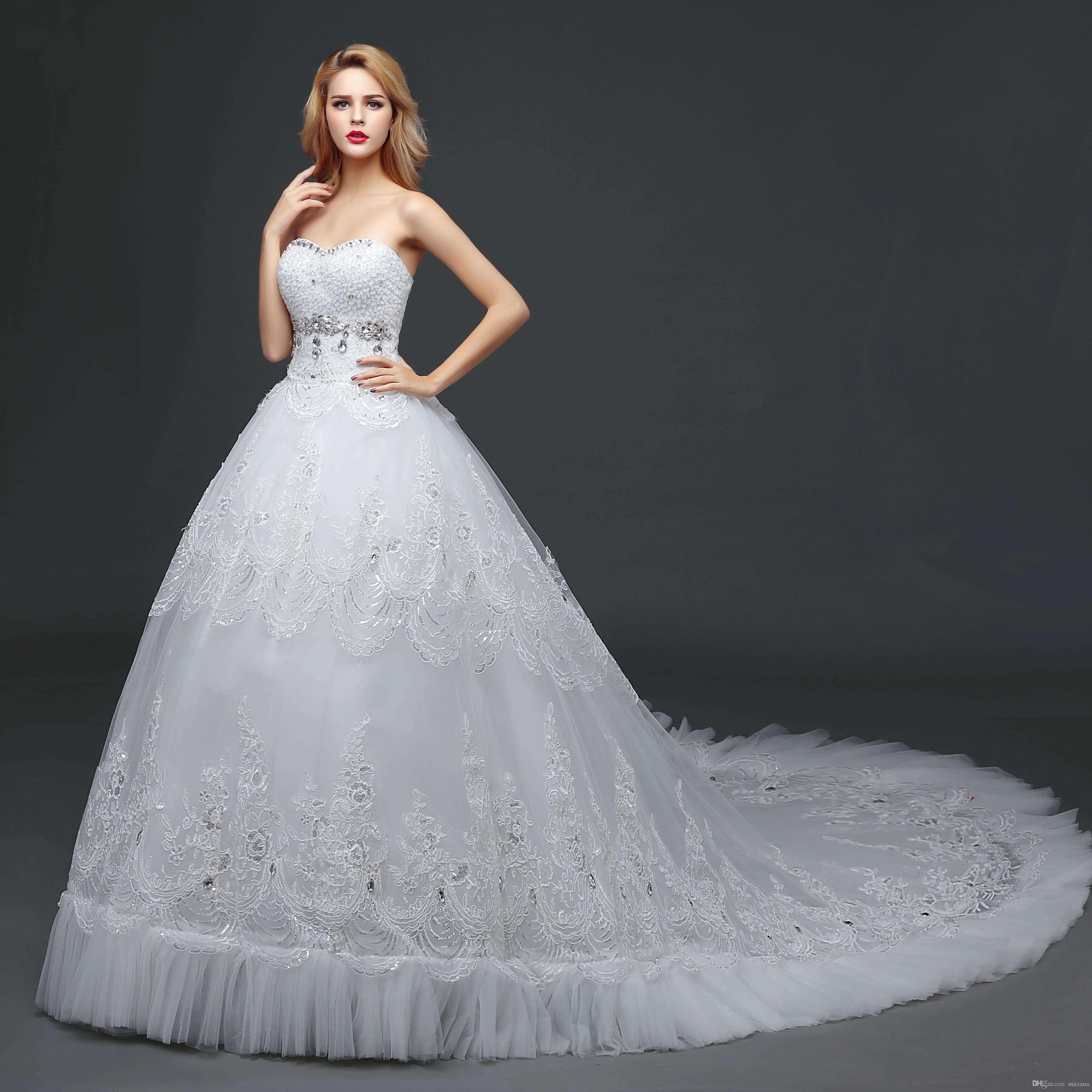 Long tail wedding dresses Beautiful crystal print sequins Mermaid wedding dress robes de soirée De Mariee Plus