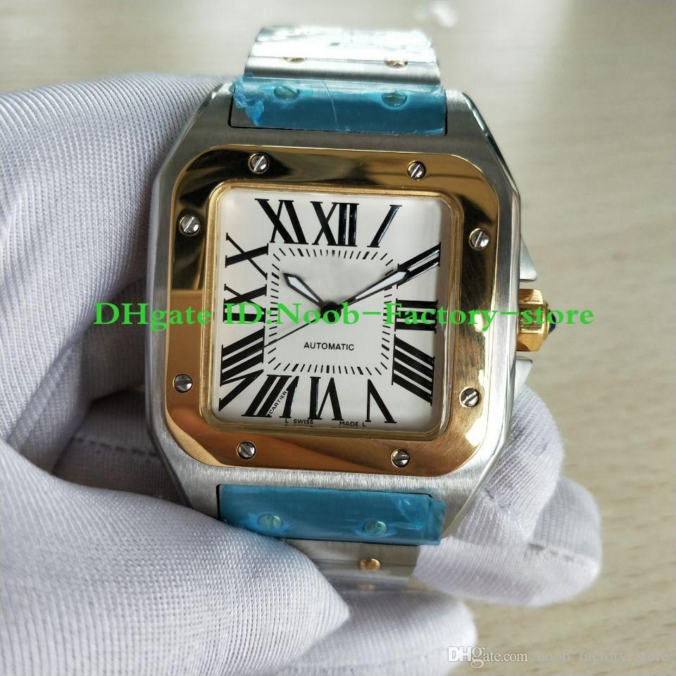 새로운 공장 최고 품질 남성용 100 XL 두 톤 스테인레스 스틸 팔찌 자동 무브먼트 손목 시계 망 스포츠 시계