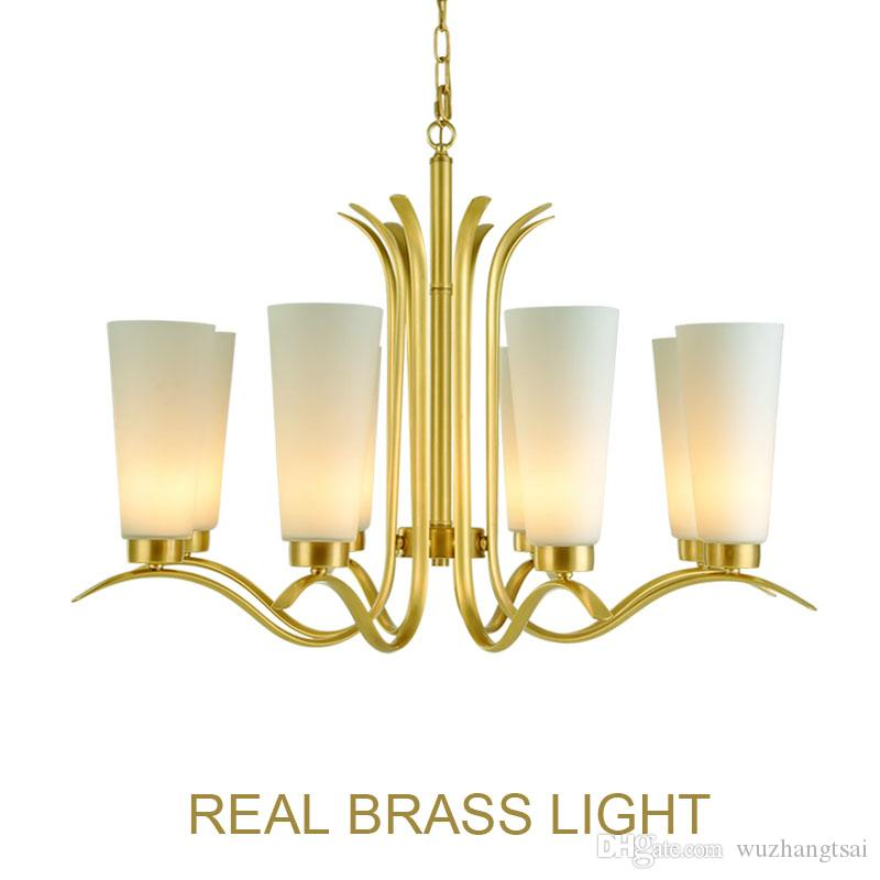 Lampadario americano in rame E27 lampada a sospensione per ingresso sala da pranzo soggiorno Lampada a LED in rame con vetro