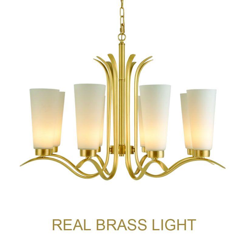 Lámpara de araña de cobre estadounidense E27 lámpara colgante para vestíbulo comedor sala de estar LED lámpara de luz de cobre con vidrio