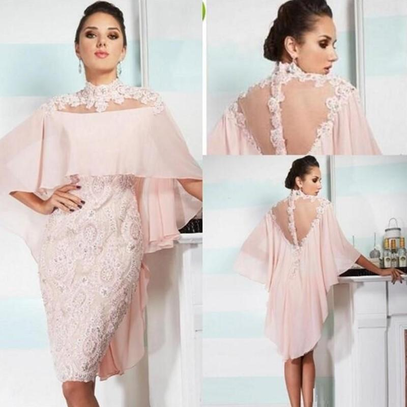 2020 Sexy Short Blush mãe de Pink vestidos de noiva Illusion chiffon renda apliques Beads Com Wraps Plus Size Wedding Party vestidos de Visitante