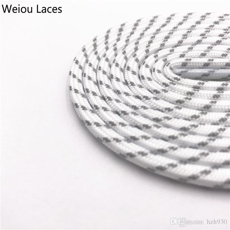 Weiou 4.5mm Round Rope Laces White Grey Cross Grain Two Tone Shoelaces Striped Bootlaces For Hiking Outdoor Sports Old Dad Shoes