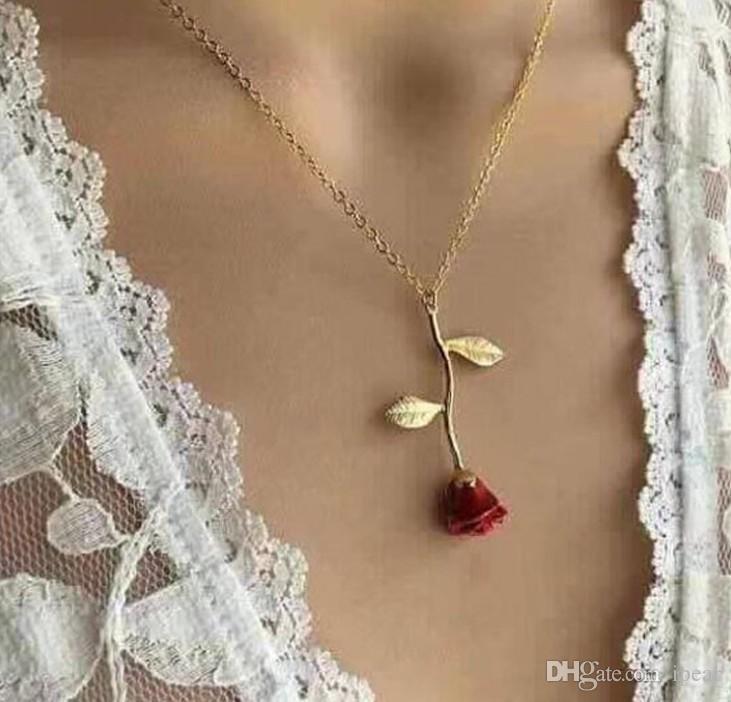 Lüks Tasarım Kolye 18k Altın Romantik Kırmızı Gül kolye Aşk Kolye Kadınlar Sevgililer Günü Takı Hediyeleri