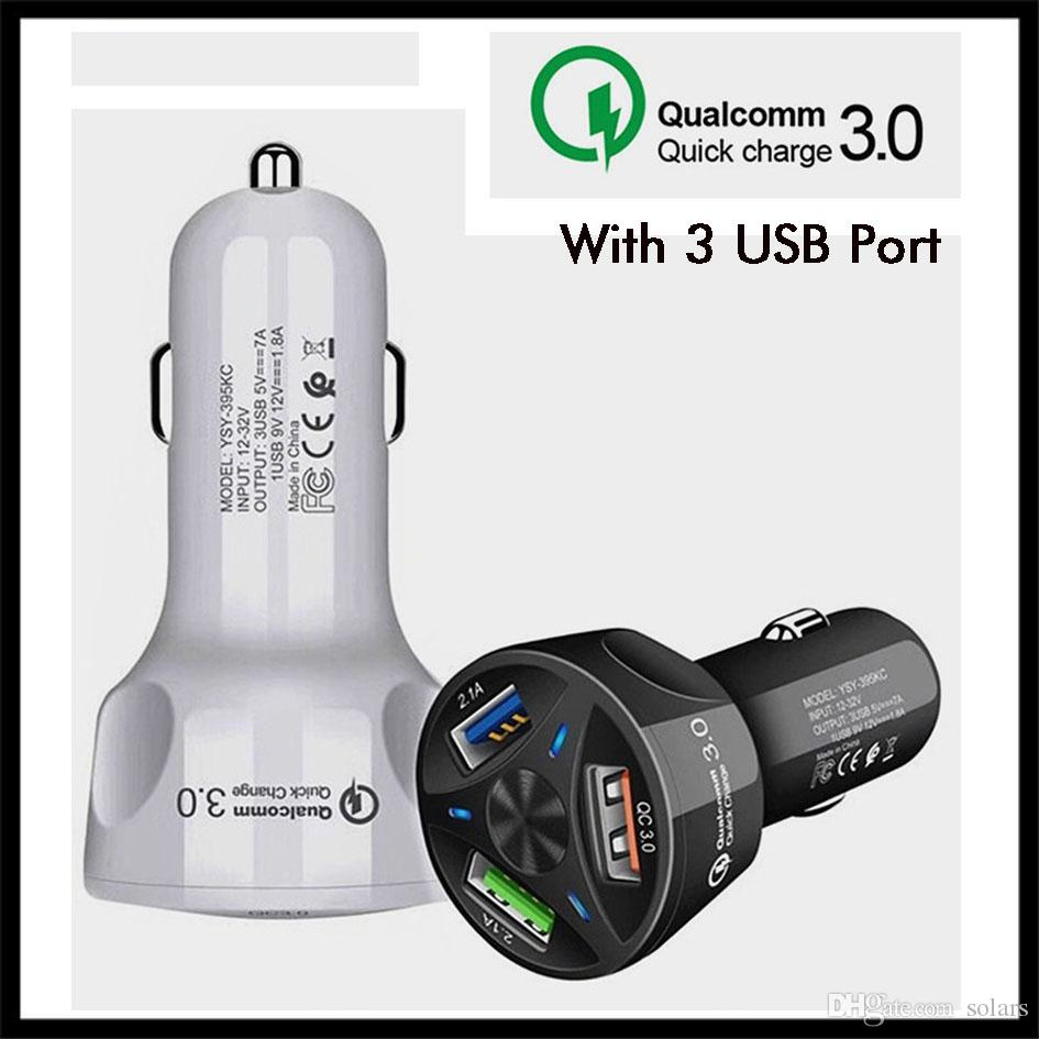 QUALCOMM QC 3.0 Car Charger Triple USB Port Fast Charging 7A 32V QC3.0 Quick Phone Charger for iPhone HUAWEI Samsung Smartphones