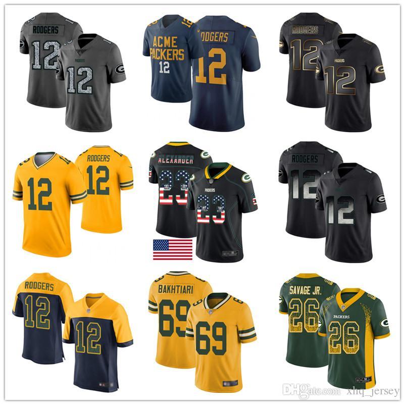 Green Bay Packer encargo jerseys Aaron Rodgers Davante Adams Jaire Alexander Darnell salvaje Jr.David Bakhtiari Brett Favre Hombres Mujeres Jóvenes