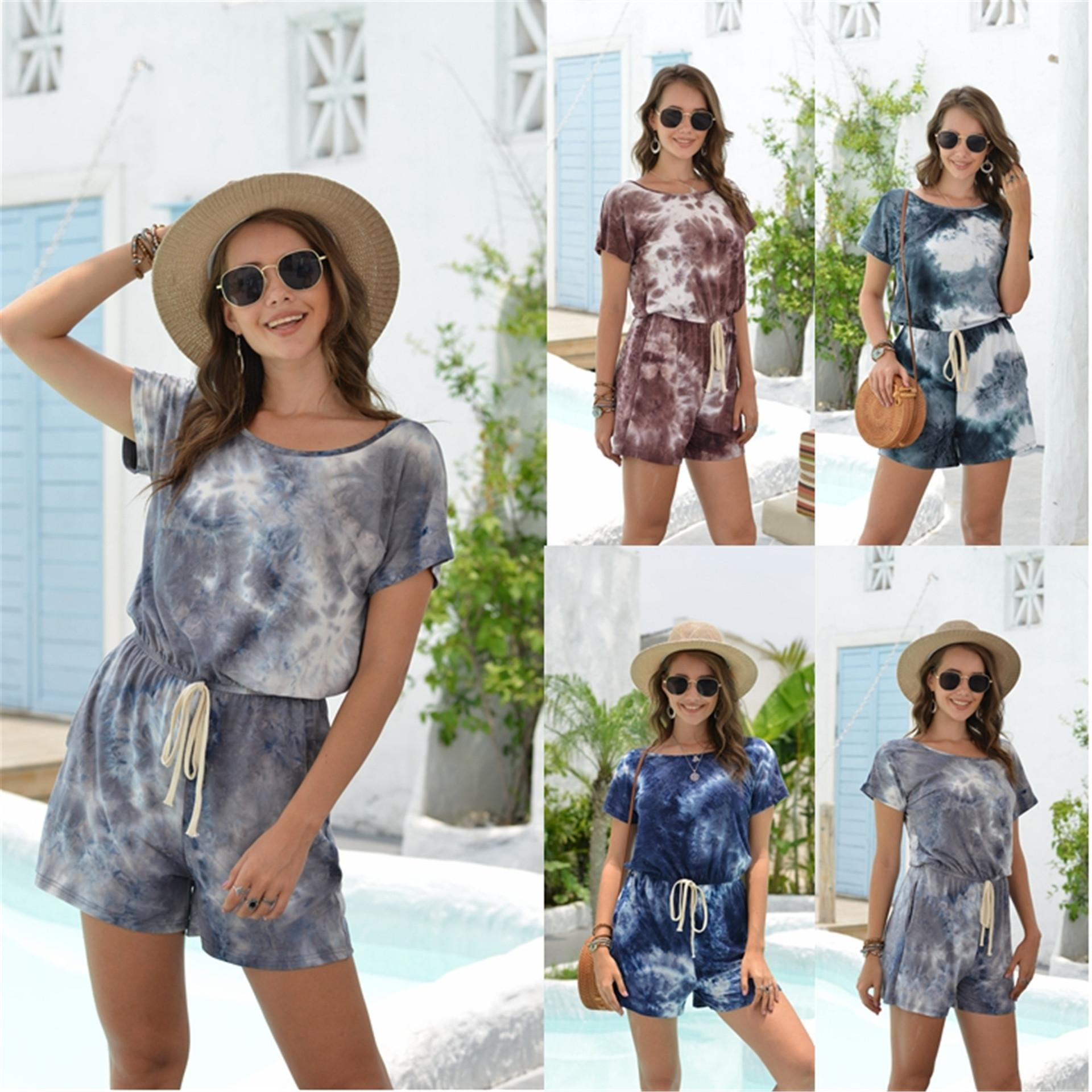 2020 Summer Playsuits Women Cotton Lace up Tie-dye Short Sleeve O Neck Casual T Shirt Shorts Jumpsuit Femme Rompers S-XXL