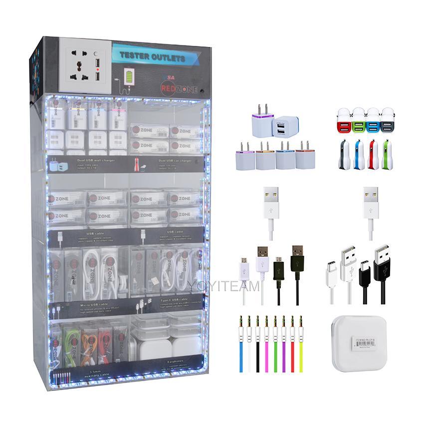 الملحقات المحمولة مربع الاكريليك عرض LED أضواء متعددة 8 في 1 الهاتف المحمول للهواتف الذكية الروبوت مع كبل USB شاحن سماعة اوكس