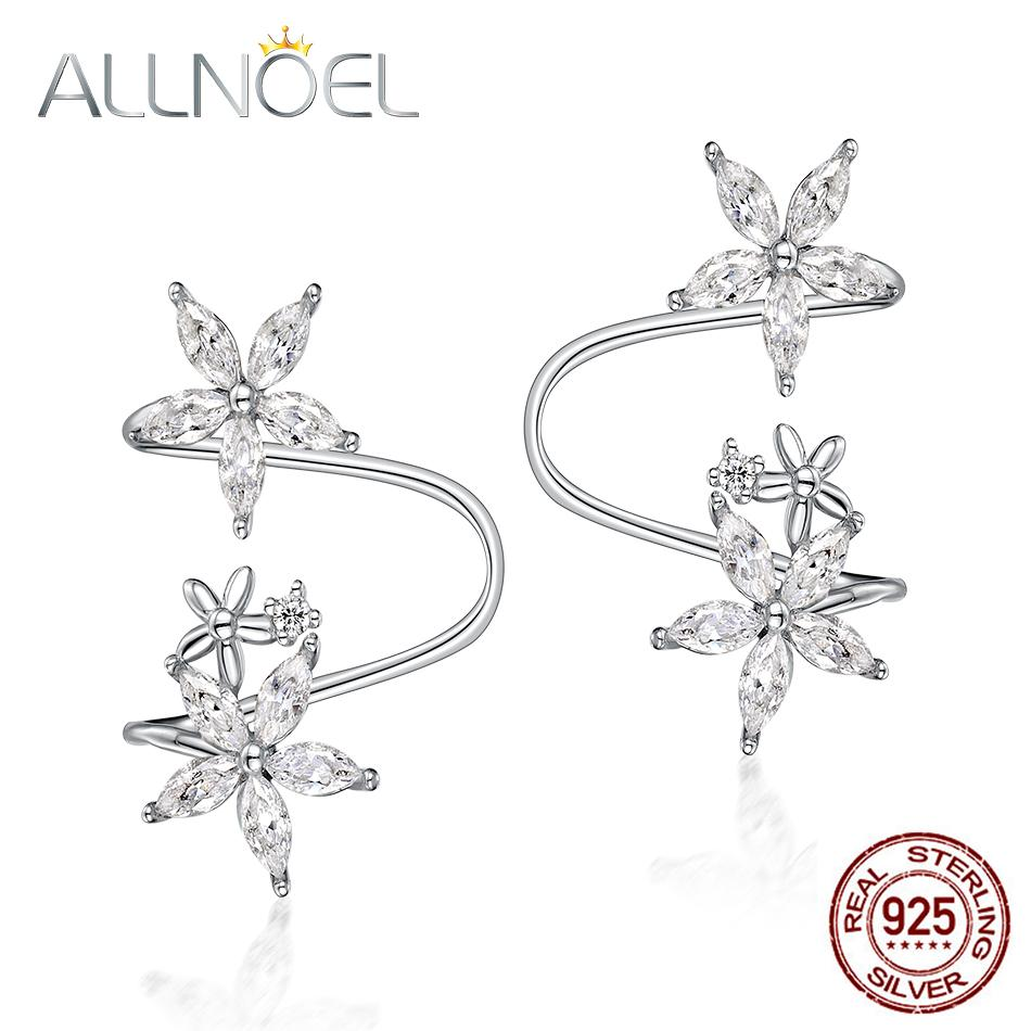 ALLNOEL 2019 Pure 925 Sterling Silver White Agate Clip Earrings For Women Star Charm Handmade Fine Jewelry Gifts Mother's Day