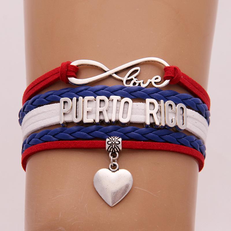 Unendlich Lieber Puerto Rico Armband-Armbänder Herz-Charme flicht PU-Leder-Armband-Schmucksachen für Frauen-Mann-Tropfen-Verschiffen