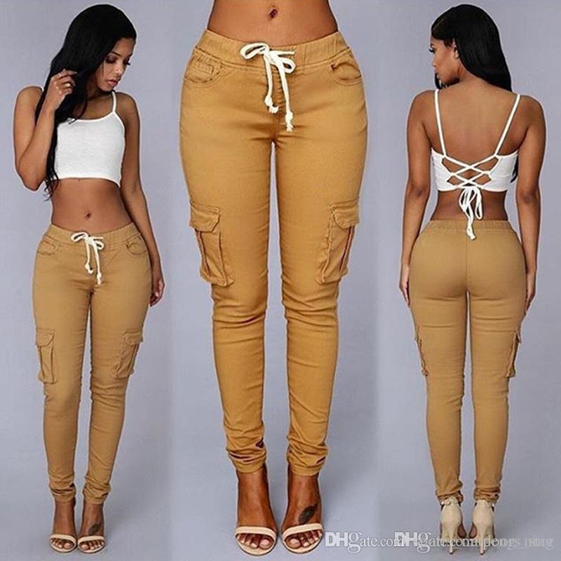 새로운 여성 패션 카키 데님 펜슬 바지 Hight 허리 Drawstring 바지 캐주얼 탄성 스포츠 코튼 레깅스