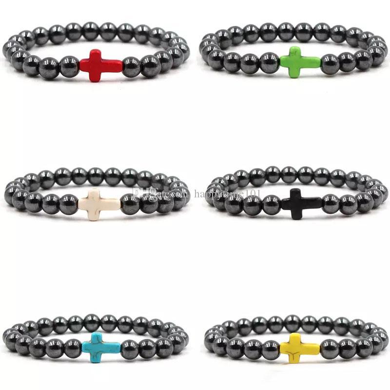 Il nuovo modo ematite Bracciali Black Stone 8 millimetri Croce Bracciali Turchese Croce elastico braccialetti del regalo unisex per