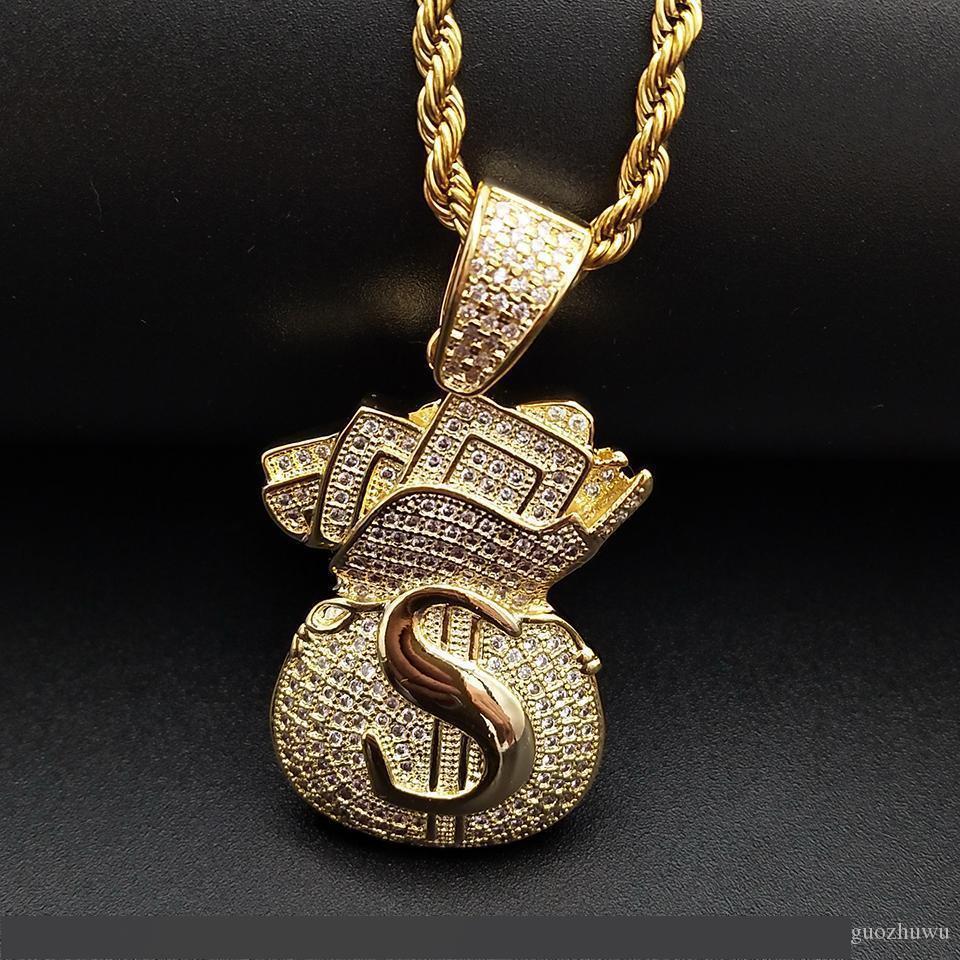 Chapado en oro de la CZ heló hacia fuera circonio cúbico para hombre del bolso del dinero USD colgante collar de cadena de cuero de lujo de los regalos pendientes de diamantes total de Hip Hop de los hombres