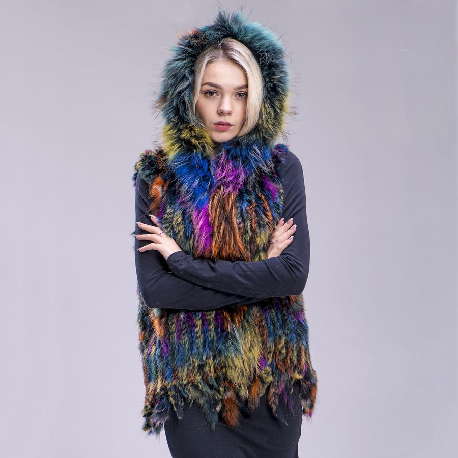 ZDFURS* new Free shipping women real natural rabbit vest fur with raccoon fur hooded collar trimming waistcoat knitted genuine T191118