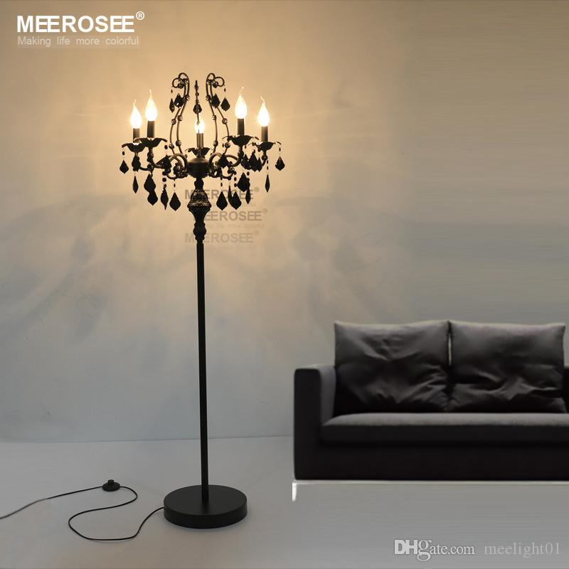 Vintage 5 luzes de cristal Candeeiro de Chão, Suporte de chão luminária Cristal Lustre de cristal Candelabra Standing Lamp Centerpiece transporte rápido