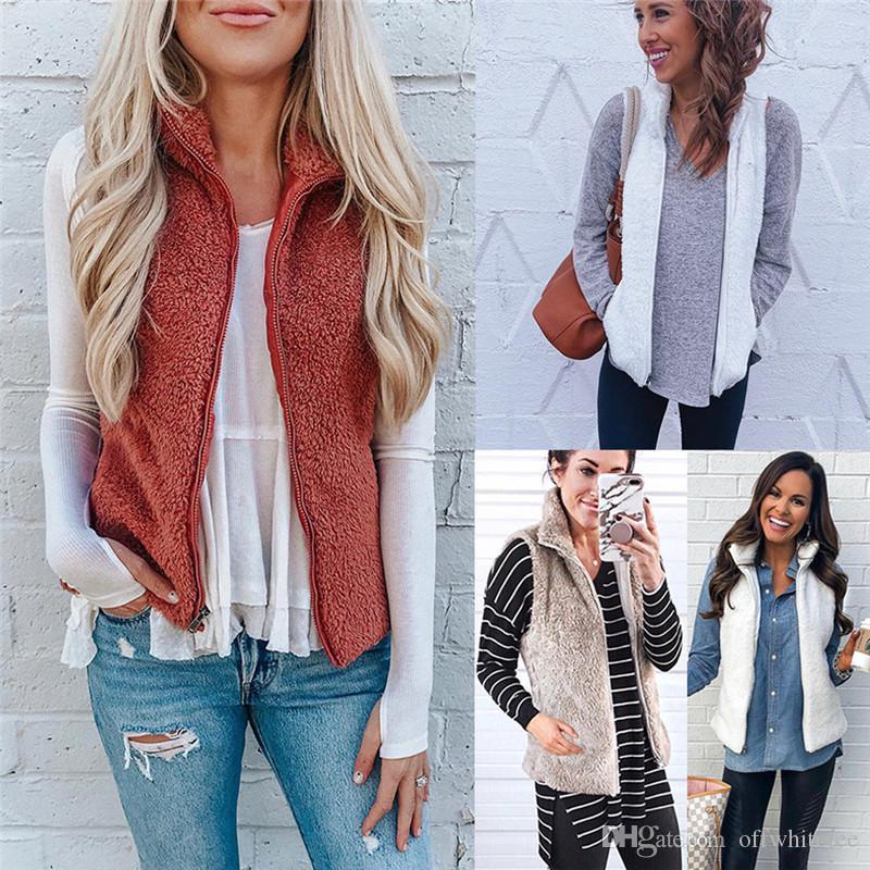 Invierno color sólido para mujer chaleco cardigan sin mangas para mujer abrigos diseñador soporte cuello ropa para damas
