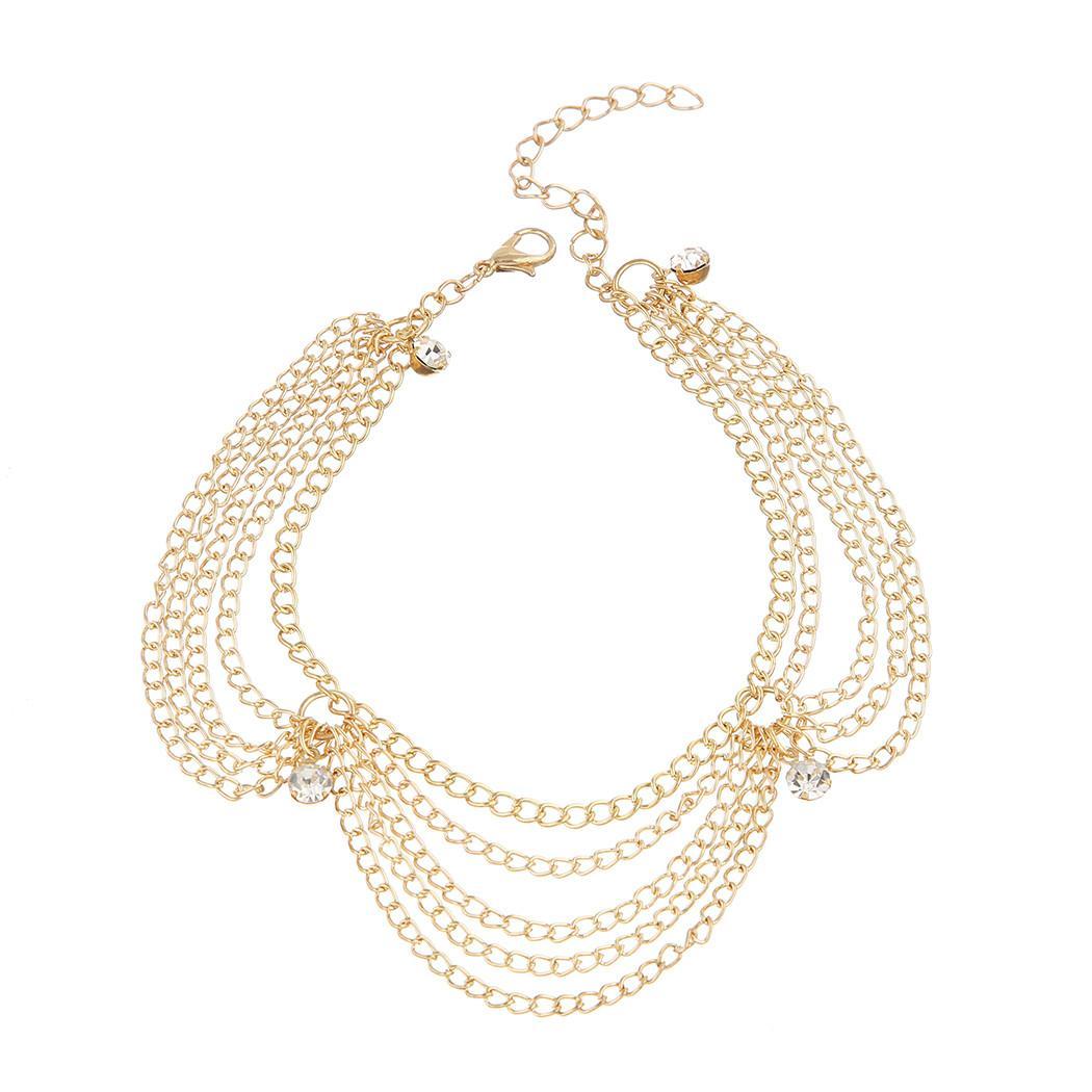 البوهيمي الذهب متعدد الطبقات سلاسل الخلخال حجر الراين سحر خلخال أساور المرأة فتاة القدم مجوهرات ربيع جديد