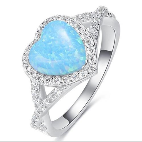 Wholesale 10 Pcs Popular Silver Plated Love Heart Blue Opalite Opal Finger Ring Romantic Style Jewelry
