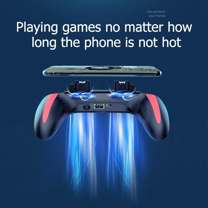 PUBG Mobile Controller Gamepad avec refroidisseur ventilateur de refroidissement pour iOS Android Samsung Galaxy L2R2 Joystick 5000mAh / 2500mAh avec 2fans