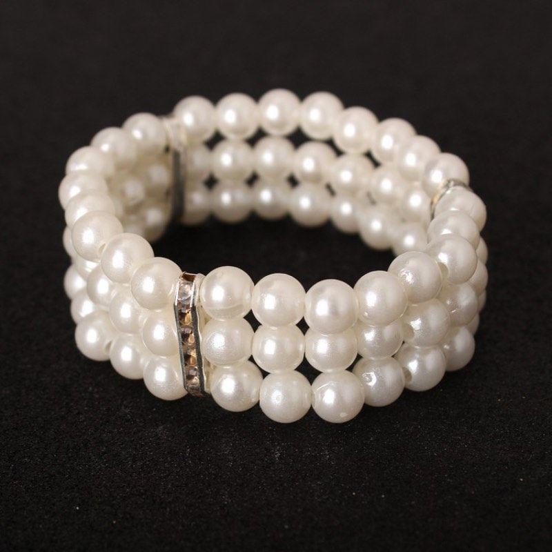 Мода женские ювелирные изделия 3 слои искусственные жемчуг браслет из бисера эластичный браслет чистые белые искусственные жемчужные браслеты оптом
