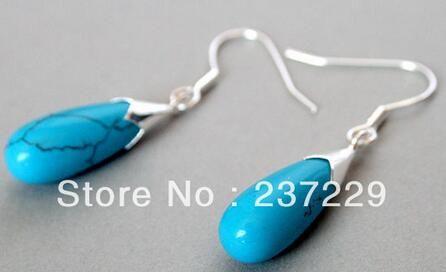 women Fashion Jewelry Wholesale price FREE SHIPPING Water drop New Pair Blue stone &925 Sterling Silver Drop Dangle Earrings