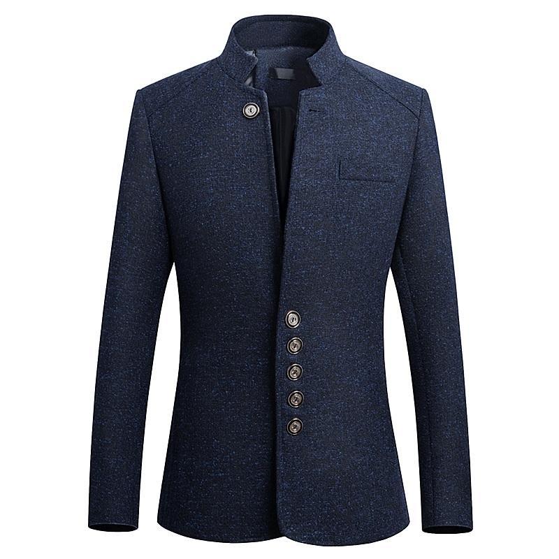 SOL ROM 2018 bahar Yeni stil Saf renk moda erkekler takım elbise ceket / adam eğlence Standı yaka Slim fit Uzun kollu blazers M-5XL