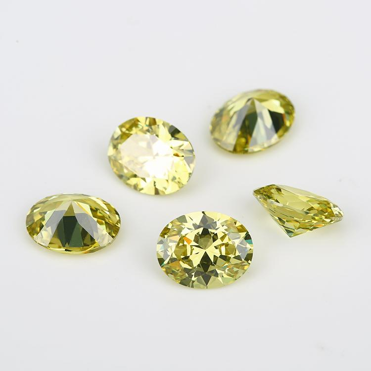5A Grade 50pcs Olive color Oval Shape Cubic Zirconia Stone Loose CZ Stone Synthetic Gems