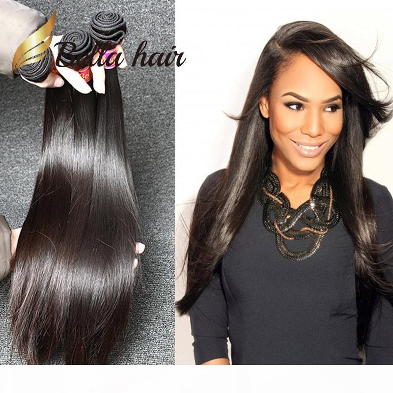 İşlenmemiş Avrupa İnsan saçı atkı 3pcs çok İpeksi Düz Saç Paketler Doğal Renk Saç Uzantıları Ücretsiz Kargo