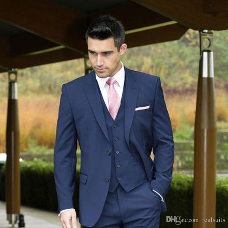 Navy Blue Slim Men Suits for Wedding Groom Tuxedo Man Items Groomsmen Blazer Prom Party 3Piece(Coat Pants Vest)Terno Masculino Costume Homme